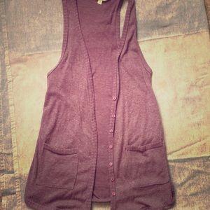 Long purple vest
